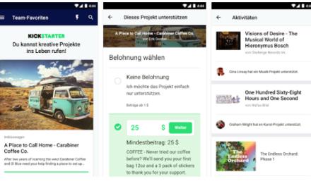 Kickstarter veröffentlicht Android App