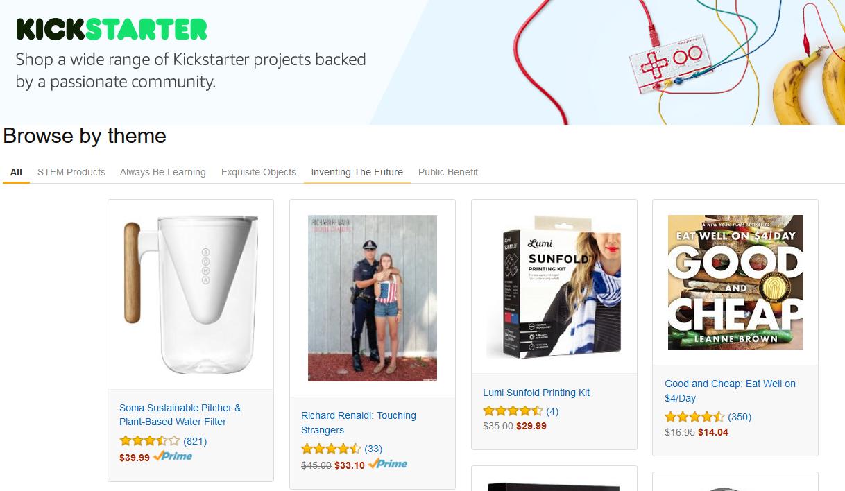 amazon.com führt neuen Bereich für Kickstarter Projekte ein